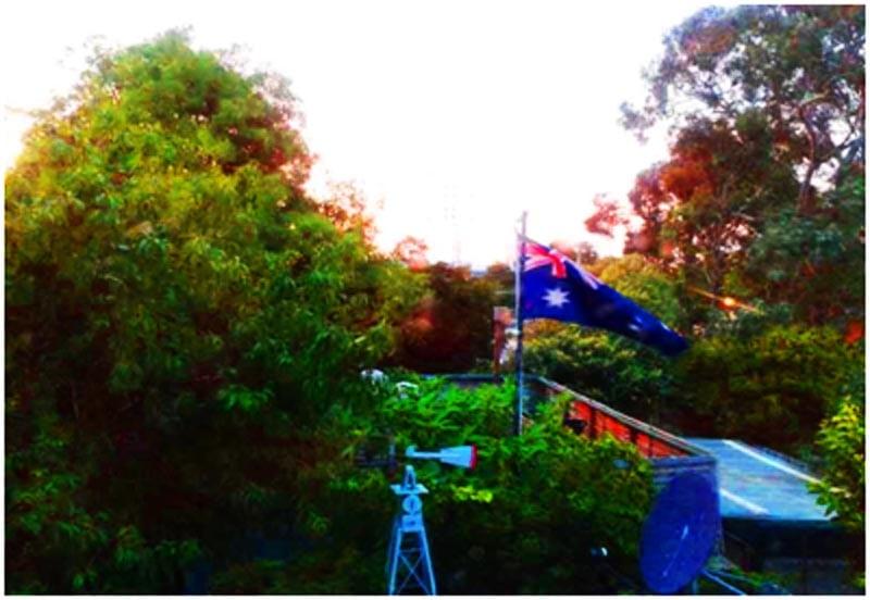 Aussie flag in backyard